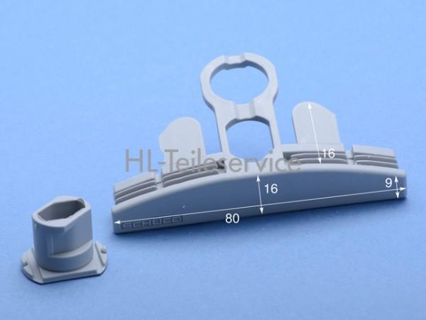Endkappe mit Stopfen- grau - 80 mm