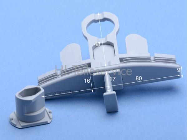 Endkappe mit Öse - grau - 80 mm